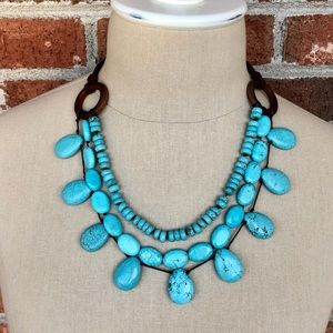 Stella & Dot Cortez Turquoise and Suede Necklace